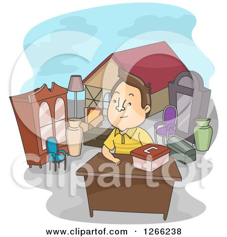 Clipart of a Brunette White Man Selling Properties - Royalty Free Vector Illustration by BNP Design Studio