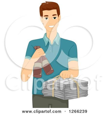 Clipart of a Brunette White Man Holding Recycle Items - Royalty Free Vector Illustration by BNP Design Studio