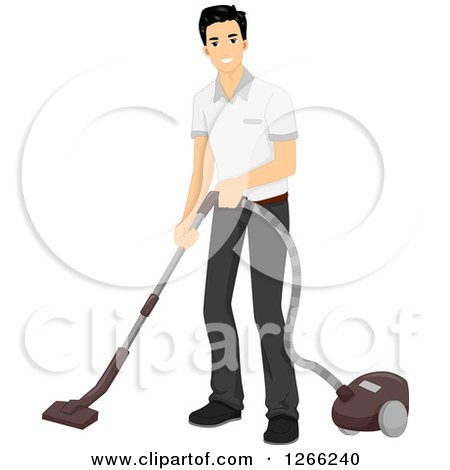 Clipart of a Young Asian Man Vacuuming - Royalty Free Vector Illustration by BNP Design Studio