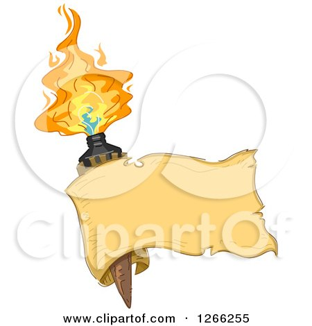 Clipart of a Blank Ribbon Banner over a Tiki Torche - Royalty Free Vector Illustration by BNP Design Studio