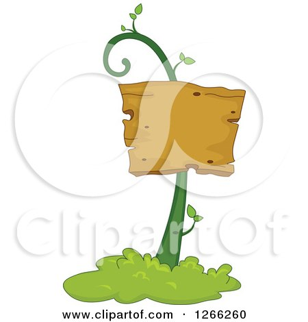 Clipart of a Wooden Sign on a Vine - Royalty Free Vector Illustration by BNP Design Studio