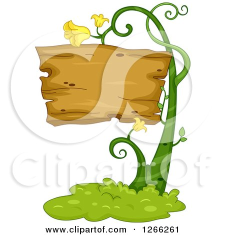 Clipart of a Wooden Sign on a Flowering Vine - Royalty Free Vector Illustration by BNP Design Studio