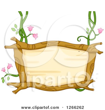 Clipart of a Wooden Sign Suspended from Floral Vines - Royalty Free Vector Illustration by BNP Design Studio