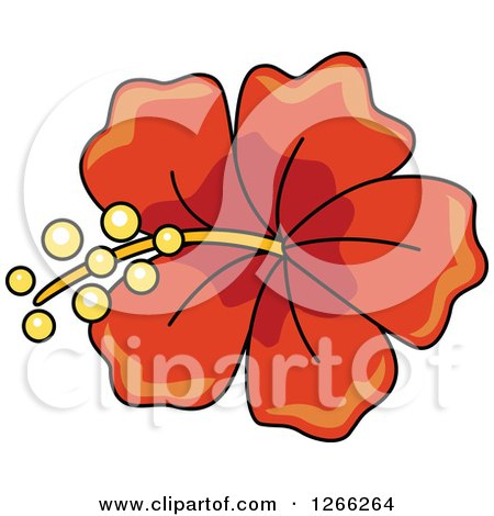 Clipart of a Red Hibiscus Flower - Royalty Free Vector Illustration by BNP Design Studio