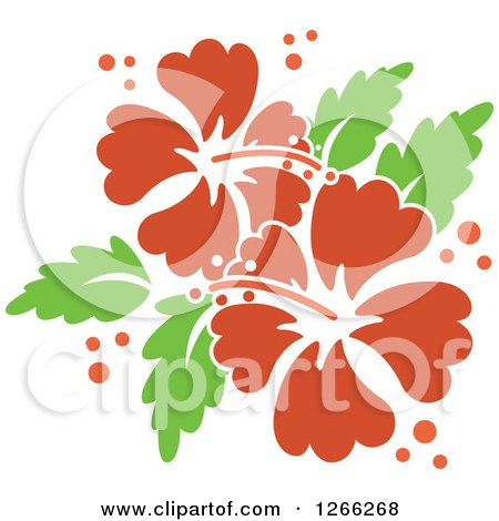 Clipart of Red Hibiscus Flowers with Bubbles and Green Leaves - Royalty Free Vector Illustration by BNP Design Studio