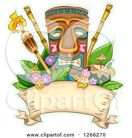 Clipart of a Tropical Tiki and Torches with Bamboo Coconut Juice and Flowers over a Ribbon - Royalty Free Vector Illustration by BNP Design Studio