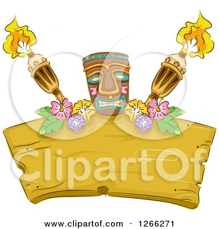 Clipart of a Tiki with Flowers and Torches over a Wood Sign - Royalty Free Vector Illustration by BNP Design Studio