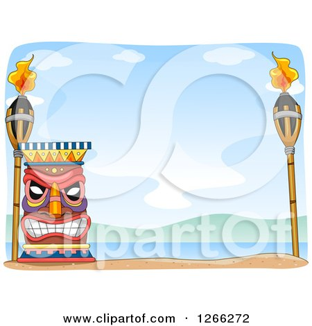 Clipart of a Tiki with Torches on a Beach - Royalty Free Vector Illustration by BNP Design Studio