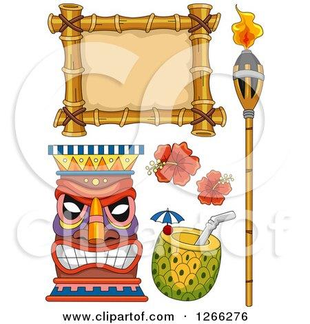 Clipart of Hawaiian Design Elements - Royalty Free Vector Illustration by BNP Design Studio