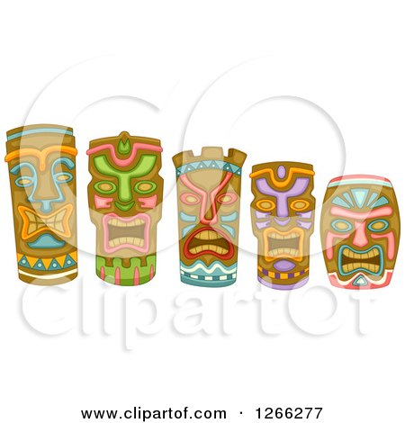 Clipart of Tiki Masks - Royalty Free Vector Illustration by BNP Design Studio
