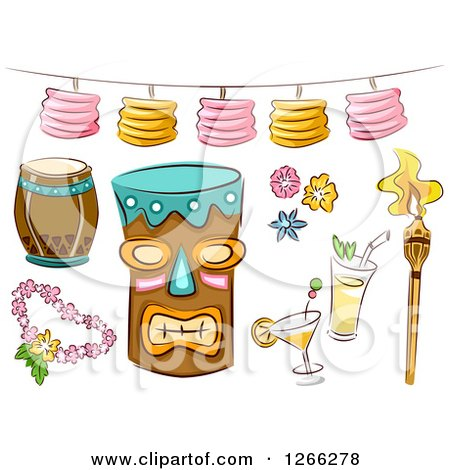 Clipart of Sketched Hawaiian Tiki Party Items - Royalty Free Vector Illustration by BNP Design Studio