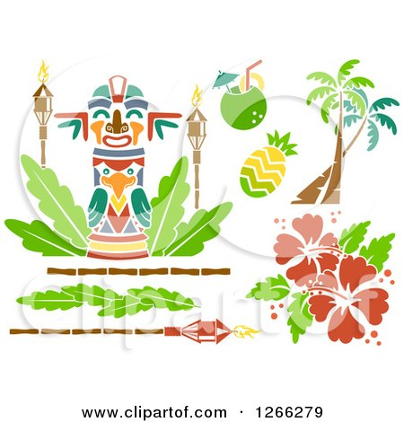 Clipart of Stencil Styled Hawaiian Design Elements - Royalty Free Vector Illustration by BNP Design Studio