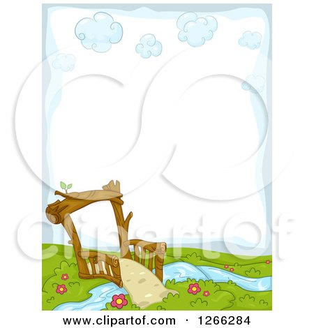 Clipart of a Background of a Foot Bridge Crossing a Stream - Royalty Free Vector Illustration by BNP Design Studio