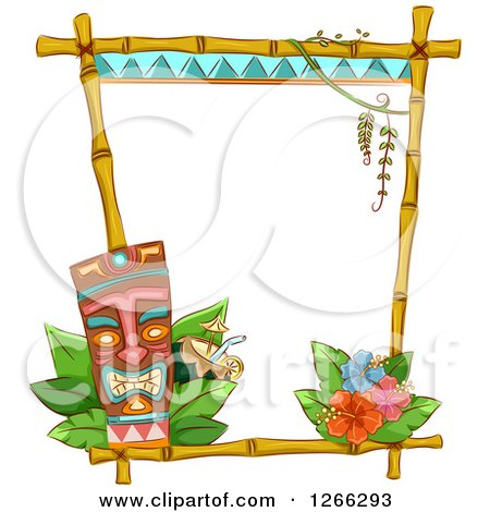 Clipart of a Bamboo Frame with a Tiki Cocktail and Hibiscus Flowers - Royalty Free Vector Illustration by BNP Design Studio
