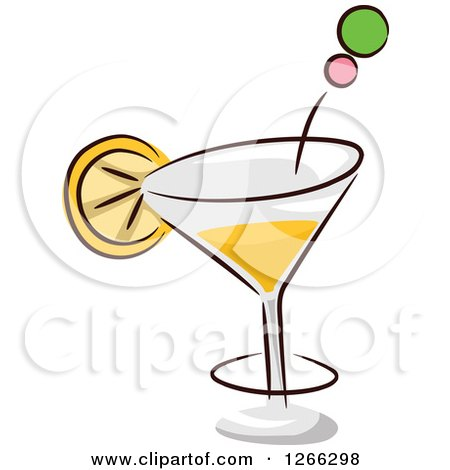 Clipart of a Sketched Cocktail with a Slice of Lemon - Royalty Free Vector Illustration by BNP Design Studio