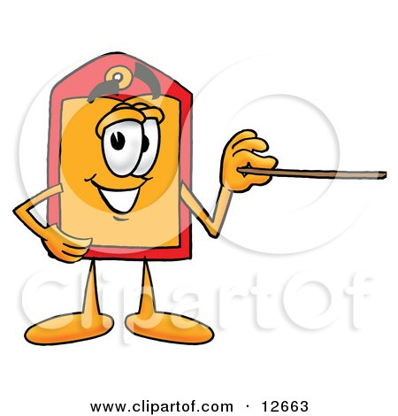 Clipart Picture of a Price Tag Mascot Cartoon Character Holding a Pointer Stick by Toons4Biz