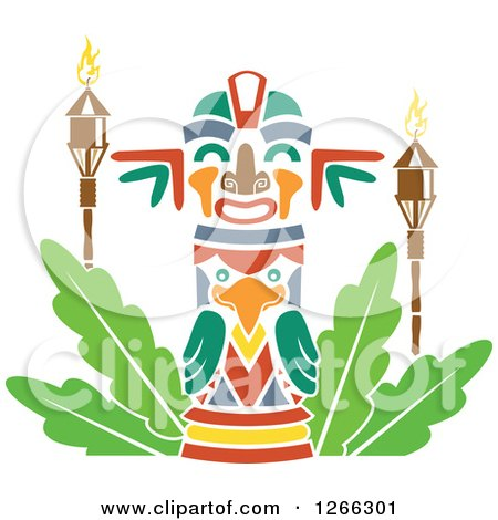 Clipart of a Hawaiian Tiki with Torches - Royalty Free Vector Illustration by BNP Design Studio