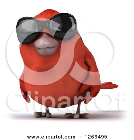 Clipart of a 3d Red Bird Wearing Sunglasses - Royalty Free Illustration by Julos