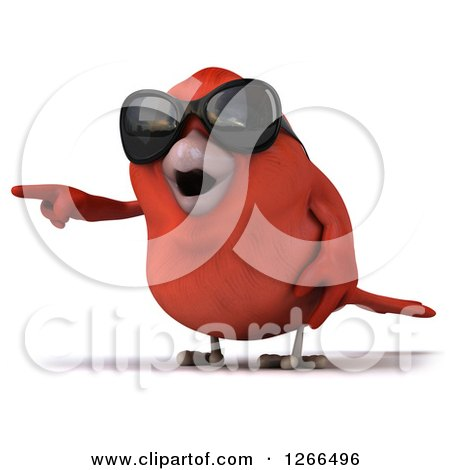 Clipart of a 3d Red Bird Wearing Sunglasses and Pointing - Royalty Free Illustration by Julos