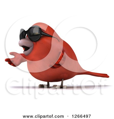 Clipart of a 3d Red Bird Wearing Sunglasses and Presenting - Royalty Free Illustration by Julos