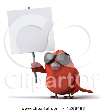 Clipart of a 3d Red Bird Wearing Sunglasses and Holding up a Blank Sign - Royalty Free Illustration by Julos