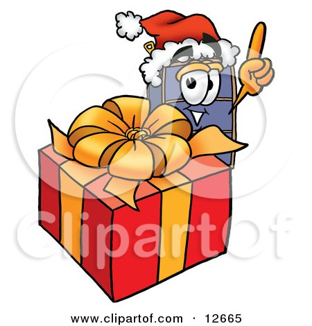 Clipart Picture of a Suitcase Cartoon Character Standing by a Christmas Present by Toons4Biz