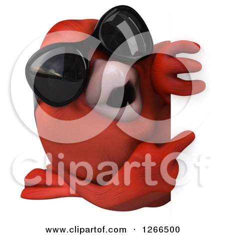 Clipart of a 3d Red Bird Wearing Sunglasses Pointing Around a Sign - Royalty Free Illustration by Julos