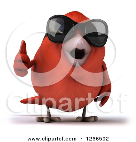 Clipart of a 3d Red Bird Wearing Sunglasses and Holding a Thumb up - Royalty Free Illustration by Julos