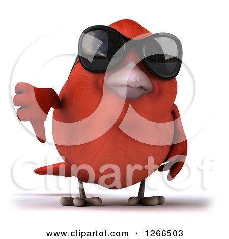 Clipart of a 3d Red Bird Wearing Sunglasses and Holding a Thumb down - Royalty Free Illustration by Julos