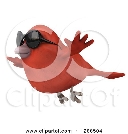 Clipart of a 3d Red Bird Wearing Sunglasses and Flying - Royalty Free Illustration by Julos
