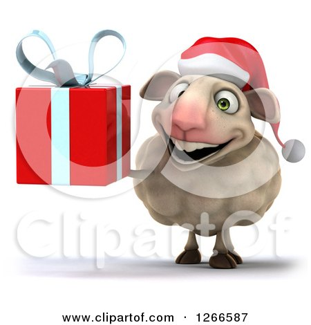 Clipart of a 3d Christmas Sheep Holding a Gift - Royalty Free Illustration by Julos