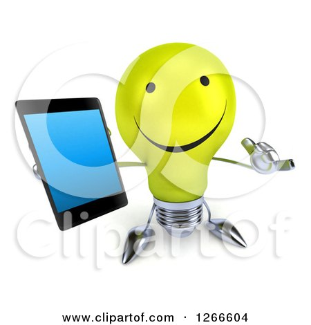 Clipart of a 3d Happy Yellow Light Bulb Character Holding up a Cell Phone and Gesturing Call Me - Royalty Free Illustration by Julos