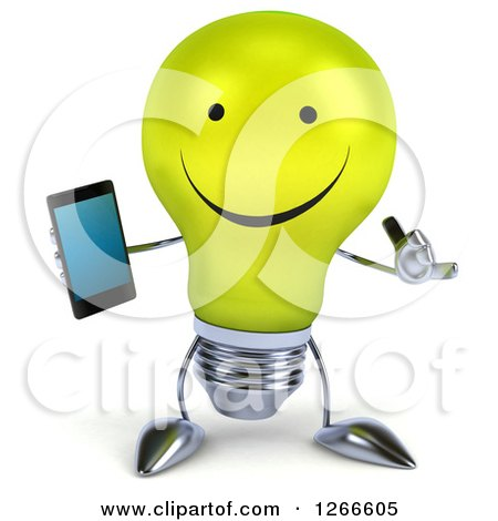 Clipart of a 3d Happy Yellow Light Bulb Character Holding a Cell Phone and Gesturing Call Me - Royalty Free Illustration by Julos