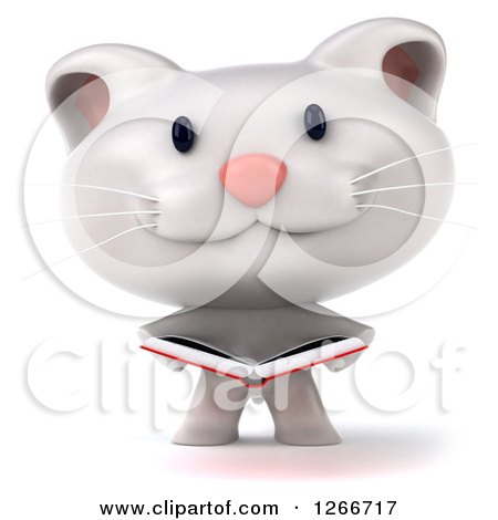Clipart of a 3d White Kitten Reading a Book - Royalty Free Illustration by Julos