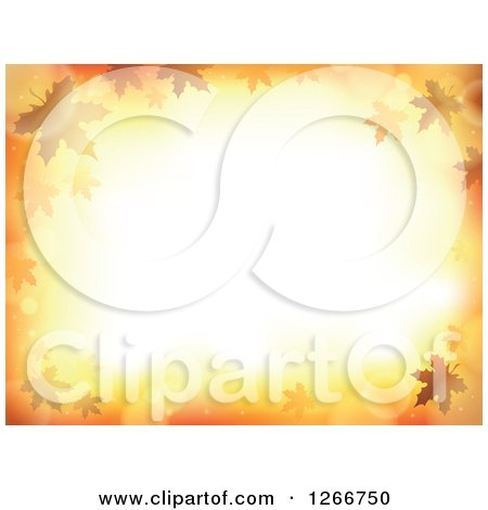 Clipart of a Background of Orange Flares and Autumn Leaves Around Text Space - Royalty Free Vector Illustration by visekart