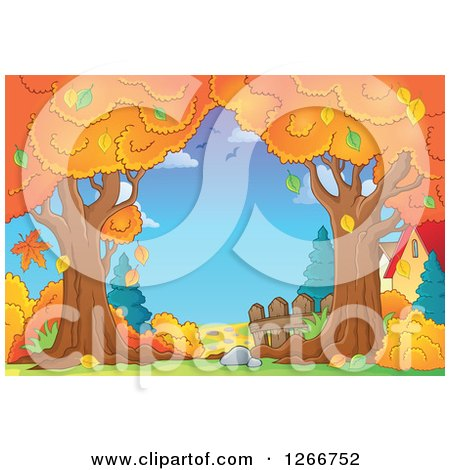 Clipart of a Backdrop of Autumn Trees and Houses - Royalty Free Vector Illustration by visekart