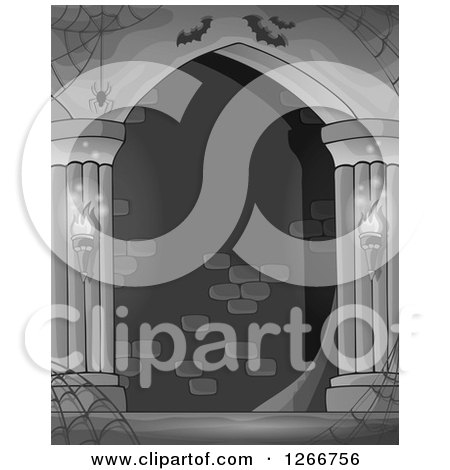 Clipart of a Grayscale Haunted Hall with Spider Webs and Bats - Royalty Free Vector Illustration by visekart