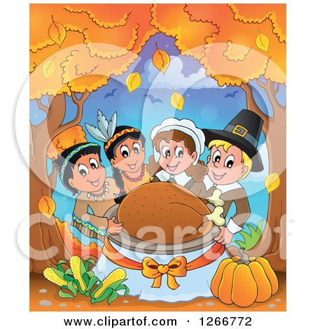 Clipart of Happy Pilgrims and Native American Indians Holding a Thanksgiving Roasted Turkey Under Autumn Trees - Royalty Free Vector Illustration by visekart