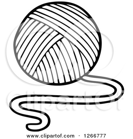 Clipart of a Black and White Ball of Yarn - Royalty Free ...