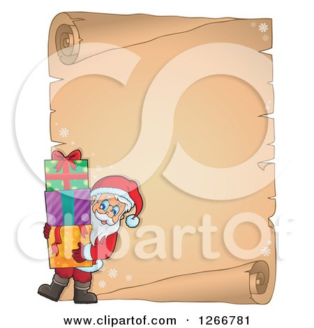 Clipart of a Parchment Paper Scroll with Santa Carrying Christmas Gifts - Royalty Free Vector Illustration by visekart