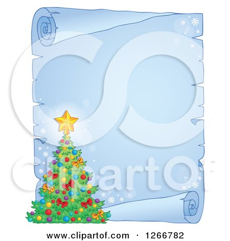 Clipart of a Frozen Parchment Paper Scroll with a Christmas Tree - Royalty Free Vector Illustration by visekart