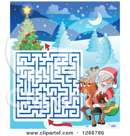 Clipart of a Christmas Maze with Santa Riding a Reindeer - Royalty Free Vector Illustration by visekart