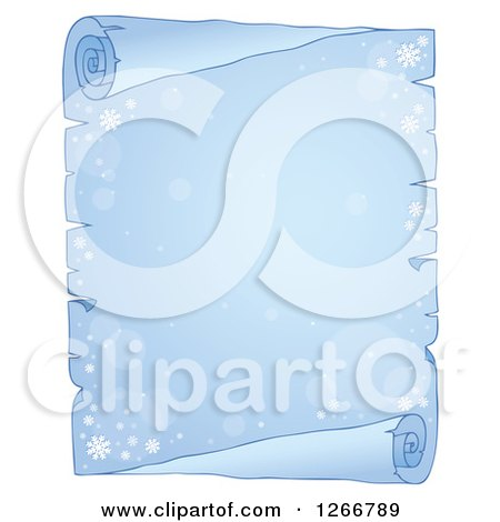 Clipart of a Frozen Parchment Paper Scroll with Flares and Snowflakes - Royalty Free Vector Illustration by visekart