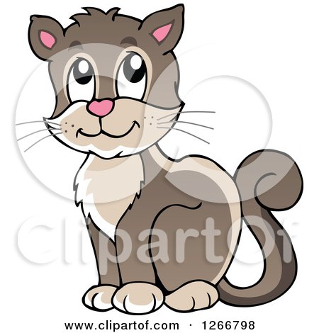 Clipart of a Brown Happy Cat Sitting - Royalty Free Vector Illustration by visekart