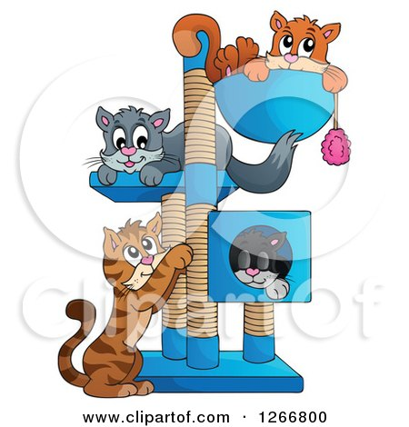 Clipart of Four Cats Playing and Resting on a Tree - Royalty Free Vector Illustration by visekart