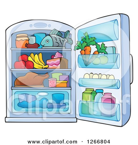 Clipart Of A Cartoon Fully Stocked Refrigerator Character