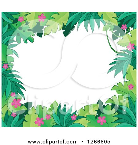 Clipart of a Border of Green Jungle Foliage and Pink Flowers over White Text Space - Royalty Free Vector Illustration by visekart