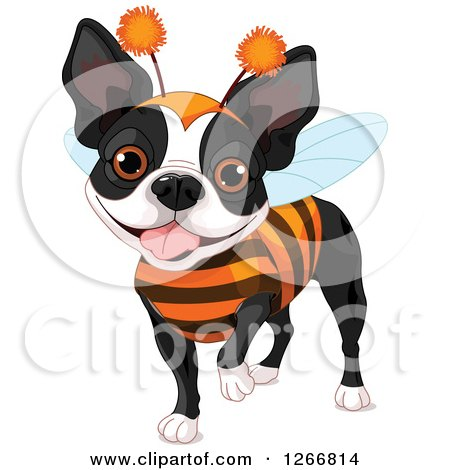 Clipart of a Cute Boston Terrier Dog in a Bug Halloween Costume - Royalty Free Vector Illustration by Pushkin