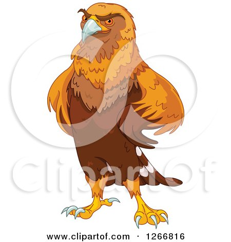 Clipart of a Majestic Golden Eagle with His Wings on His Hips - Royalty Free Vector Illustration by Pushkin