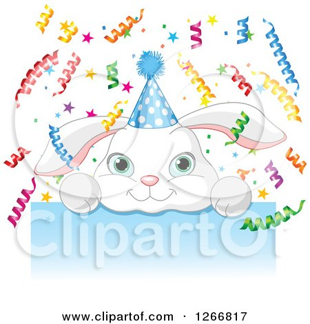 Clipart of a Cute White Bunny Rabbit with a Party Hat and Ribbon Confetti over a Blue Sign - Royalty Free Vector Illustration by Pushkin